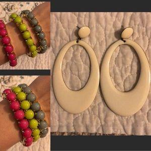 Drop retro earrings and neon bracelets